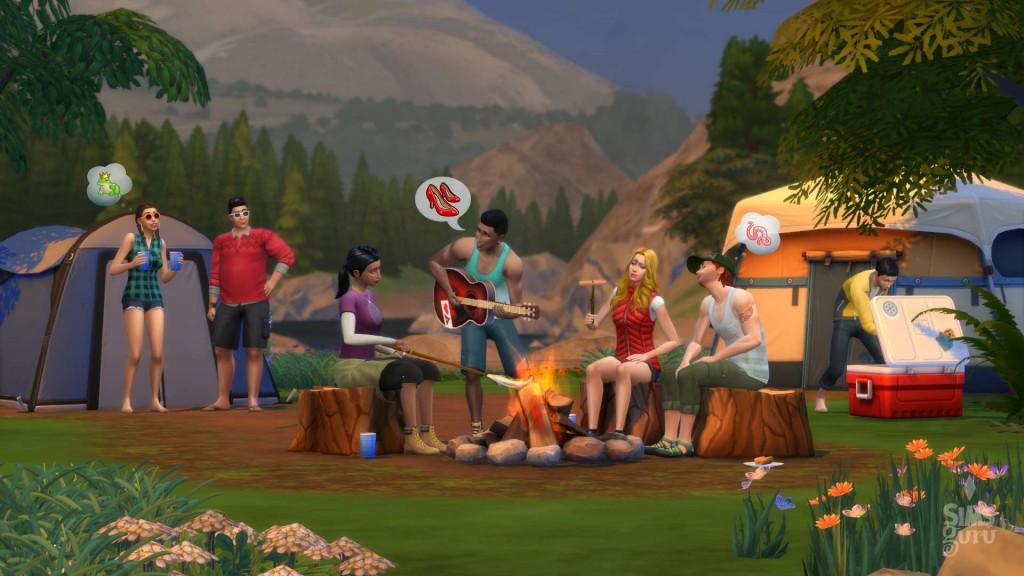 Sims 4 Granite Falls acampada entre amigos