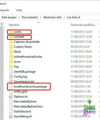 Borrar la cache en Los Sims 4