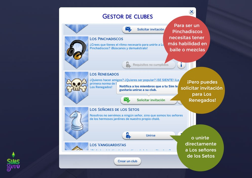 Lista de clubs en Quedamos