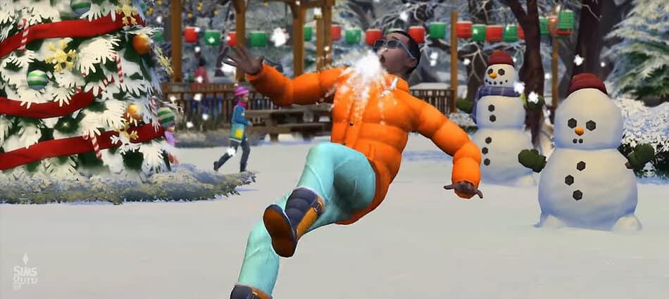 Guerra de bolas de nieve en Los Sims 4 Y Las Cuatro Estaciones