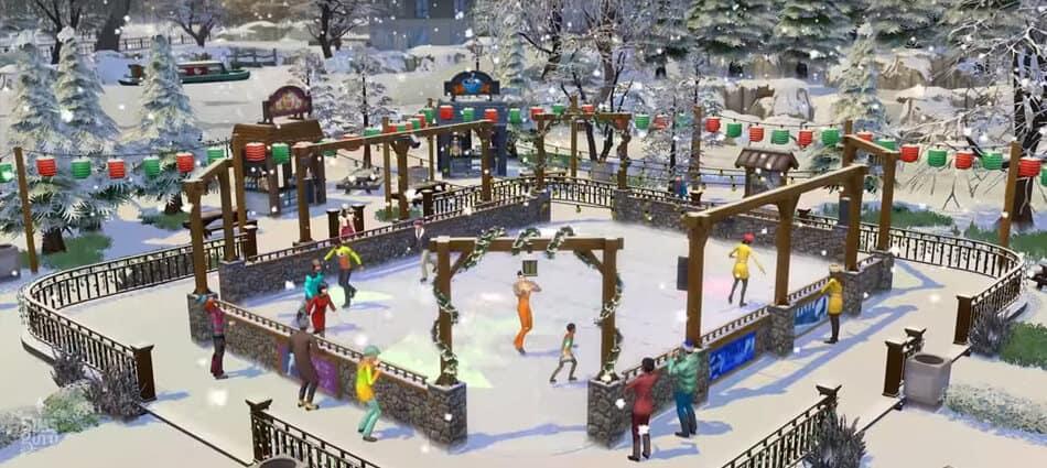 Pista de patinaje en Los Sims 4 Y Las Cuatro Estaciones