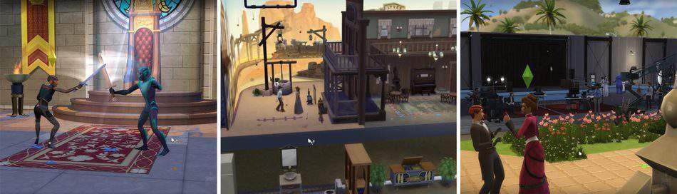 Set de rodaje y actores en Los Sims 4 Rumbo a la fama