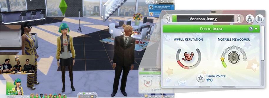 Panel de imagen pública en Los Sims 4